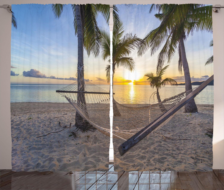 Cortinas Tropical Paradise Playa Palmas Ventana Cortinas 2 pulgadas Panel Set 108x90