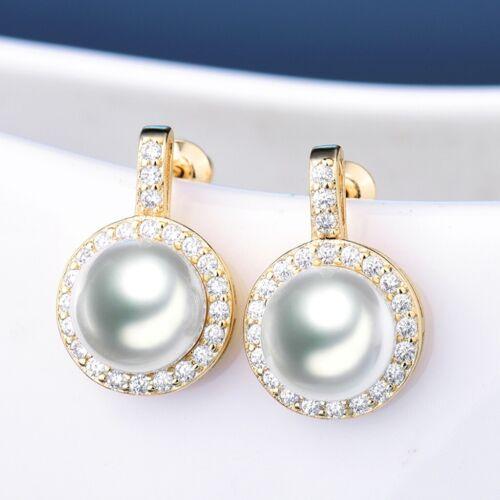 Stunning Antique Women Wedding Cubic Zirconia Crystal Gold Stud Pearl Earrings