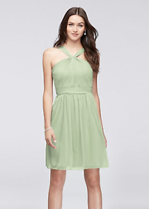 release info on more photos most popular Details about David's Bridal Y-Neck Mesh Short Bridesmaid Dress in Meadow