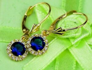 14k-Yellow-Gold-Halo-Dangle-Round-Leverback-Pierced-Earrings-Birthstone