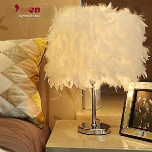 Creative Feather Shade Metal Elegant Wedding Table Lamp Bedside Desk Light