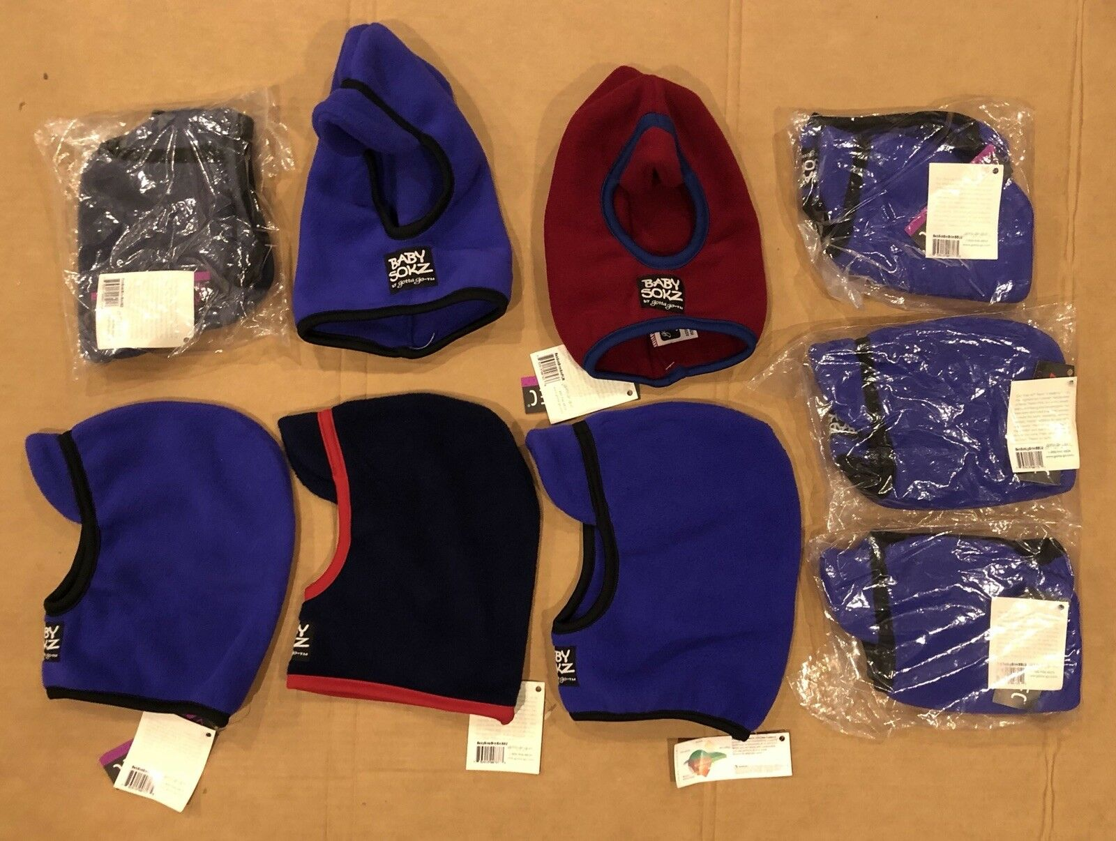 Lot Of 9 Baby Sokz By Gotta Go Purple Fleece Ski Snowboard Winter Face Mask