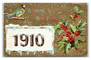 Postcard-A-Happy-New-Year-1910-Greeting-Embossed-posted-1909-J36