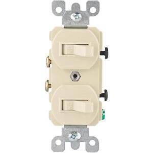 100-Pk-Leviton-Ivory-Quiet-Duplex-Single-Pole-15A-Double-Switch-S01-05224-2IS