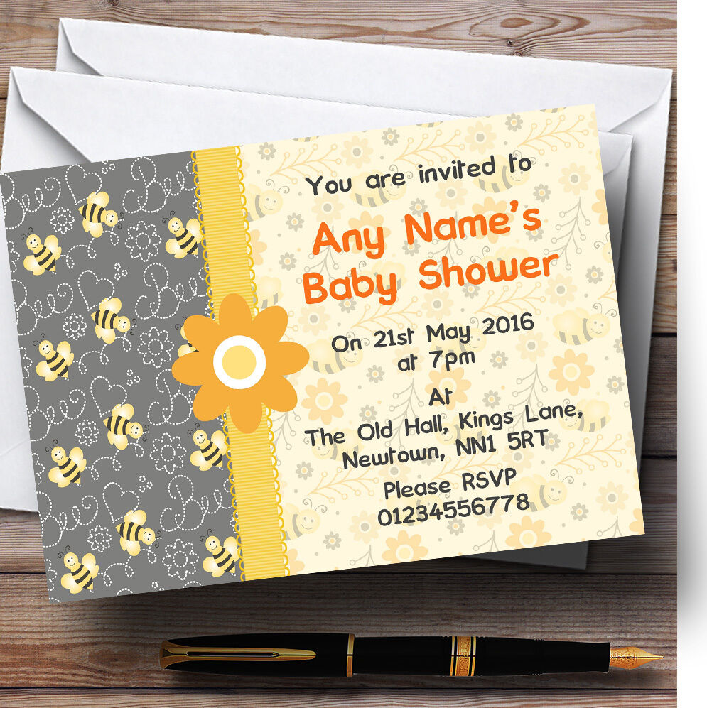 Bumble bee bee Bumble jaune gris baby shower party invitations personnalisées e6004e