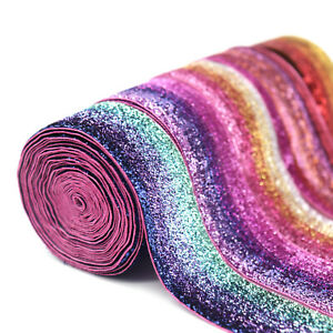 Sequins-Rainbow-Glitter-Ribbon-Elastic-Band-Sewing-Material-DIY-Apparel-2Yard