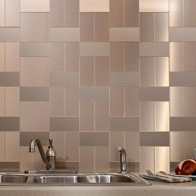 Peel And Stick Tile Gold Self Adhesive Metal Wall Bath Kitchen Backsplash  Silver | eBay