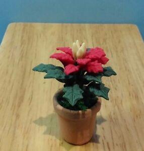 Miniature Christmas RED Poinsettia in Terracotta Pot DOLLHOUSE 1:12
