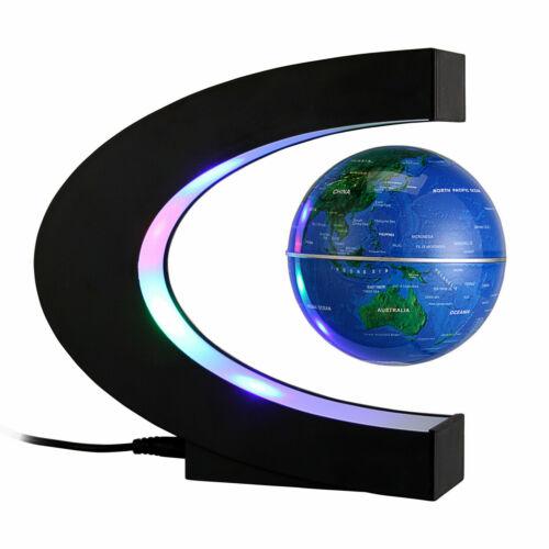 Magnetic Levitation Floating Earth Globe Map With C Shape Base LED Light