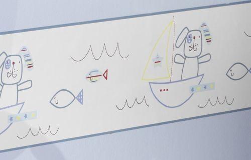 "Lollipop Lane 5 Metre Nursery Bedroom Wallpaper Border /""Fish and Chips/"" Blue"