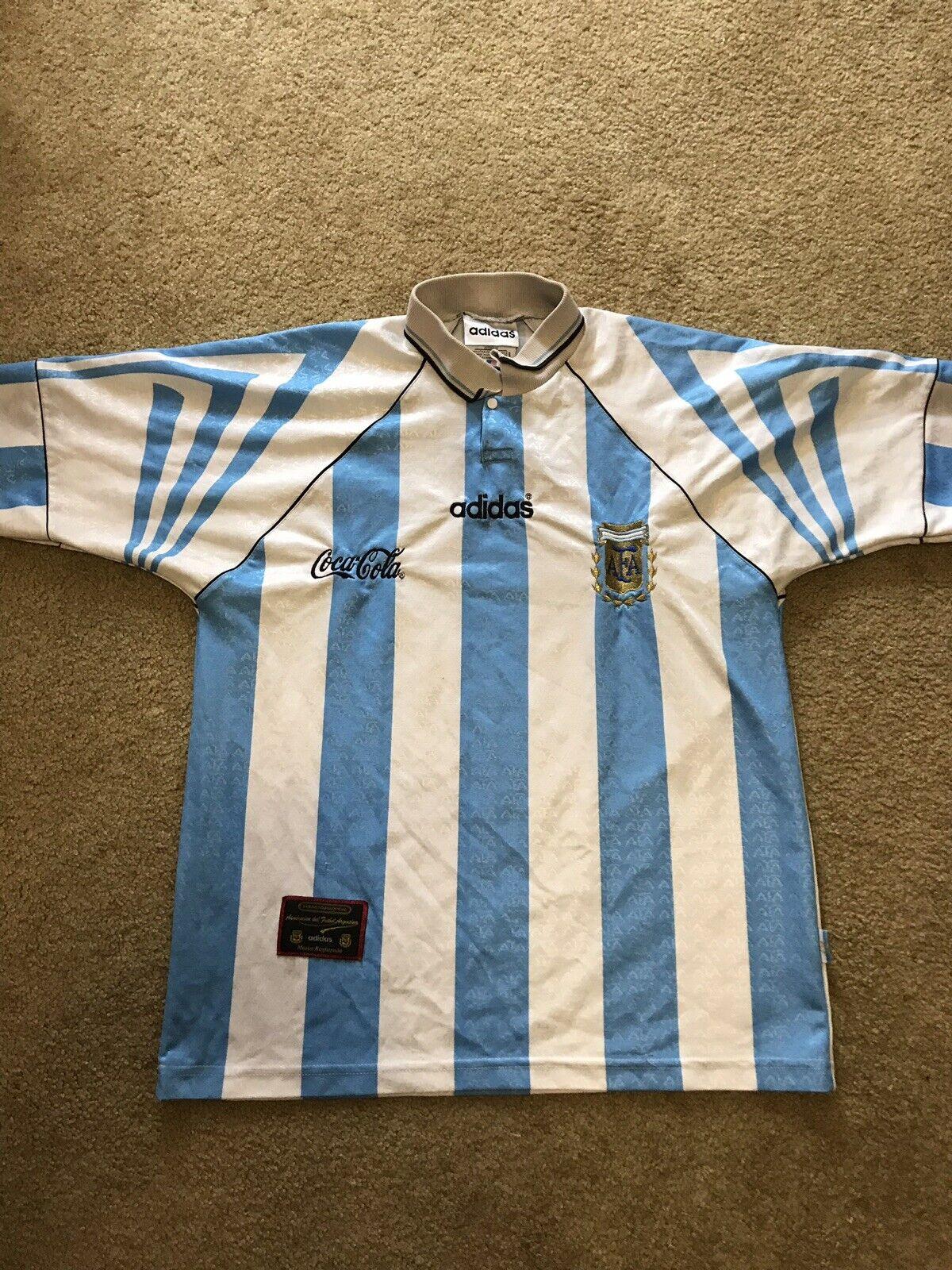 argentoINA 1996 NATIONAL squadra HOME SHIRT JERSEY Footbtutti Soccer ADIDAS Sz 3 M