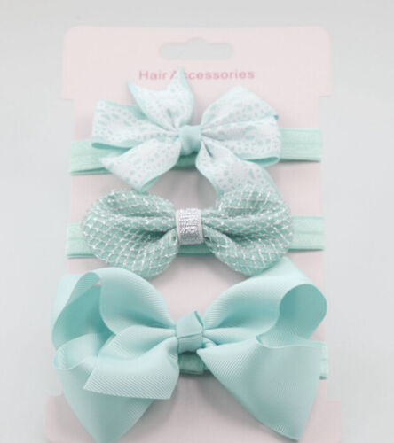 3x//Set Newborn Girl Bow Headband Ribbon Elastic Baby Headdress Kids Hair Band DS