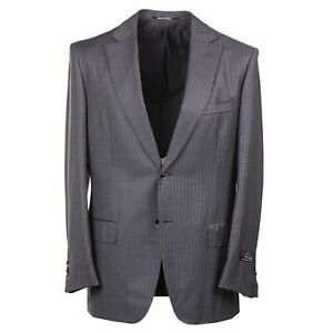 D-039-Avenza-Handmade-Gray-Stripe-Super-150s-Wool-Suit-40R-Eu-50-Two-Button
