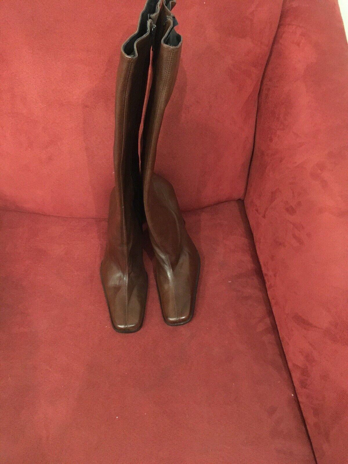 Bebe Mujer botas suela de cuero marrón de tamaño 7m hecho en España