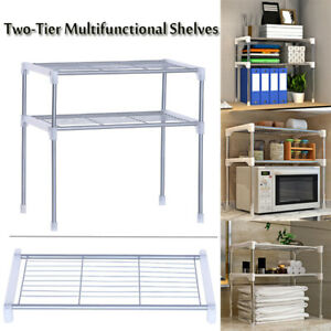 Details about Two-Tier Microwave Oven Rack Kitchen Tool Organizer Cabinet  Storage Shelf Stand