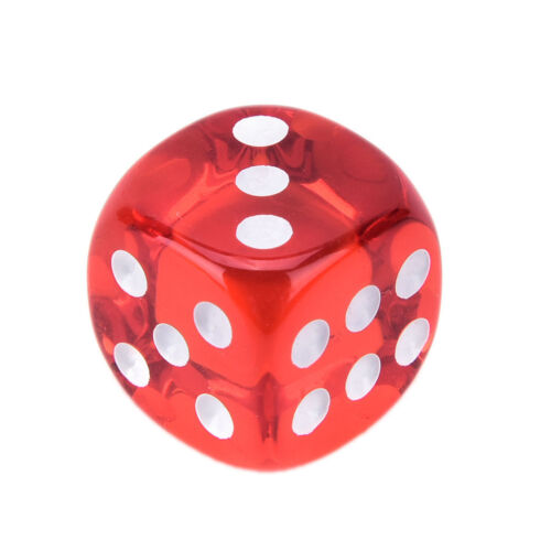 RED Square Transparent Dice Acrylic Craps Casino Bar Toy Game 14mm 2 PAIR