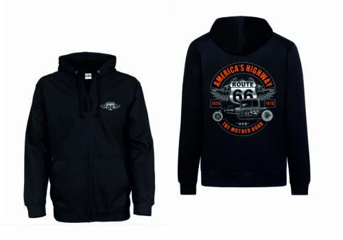 Route 66 Sweatshirtjacke schwarz Hot Rod V8 Auto /&Highwaymotiv Modell U.S