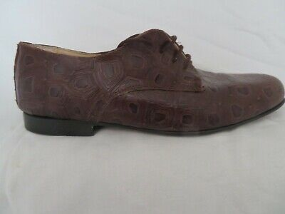 Preciso Vintage Anni'80 Rodolfo Valentino Uomo Retro Scarpe Di Coccodrillo Marrone Con Lacci Taglia 8-mostra Il Titolo Originale Prezzo Di Strada