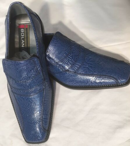 mens fashion dress shoes bolano color Navy slip on new with box