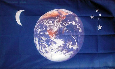 PLANET EARTH MOON and STARS FLAG 5' x 3' World Peace Space