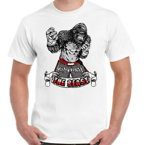 Muay-Thai-Gorilla-The-Beast-Mens-Funny-Gym-T-Shirt-MMA-Kick-Boxing-Training-Top