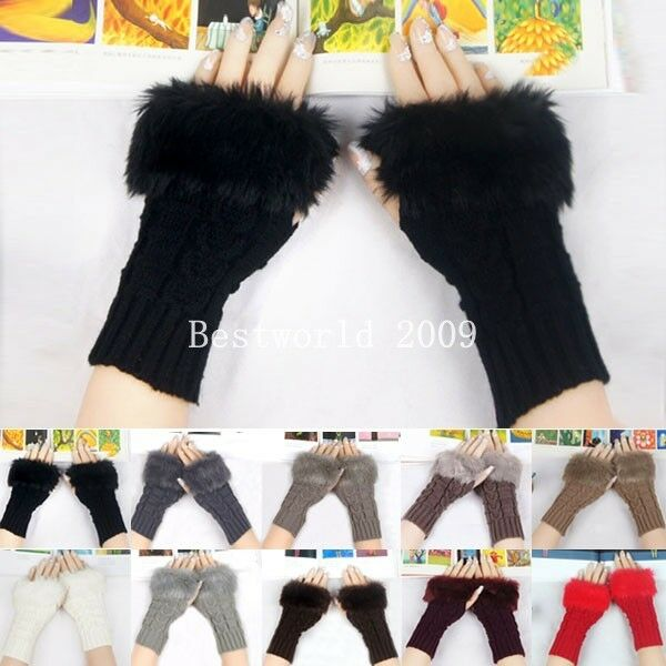 Women Winter Knitted Fingerless Gloves Faux Rabbit Fur Hand Wrist Warmer Mitten