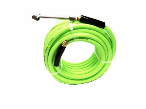 """50 FT ULTRA-FLEXIBLE AIR HOSE 300 PSI 3//8/"""" WITH 1//4/"""" FITTINGS /& DUAL TIRE CHUCK"""
