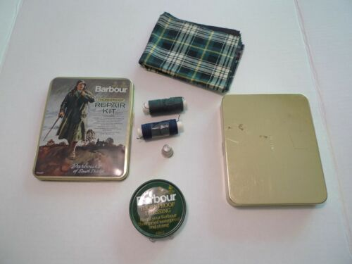 Barbour Kit Crest Reparation Tin made Two Metal Vintage England I Thornproof FqrxBPF