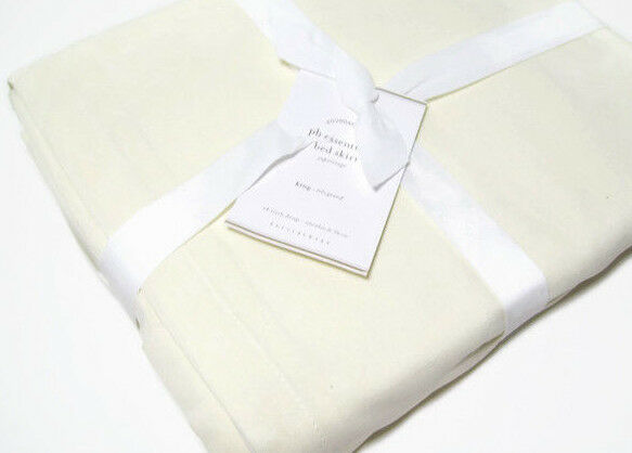 Pottery Barn Essential Ivory Cream Cotton Linen King Bed Skirt 14