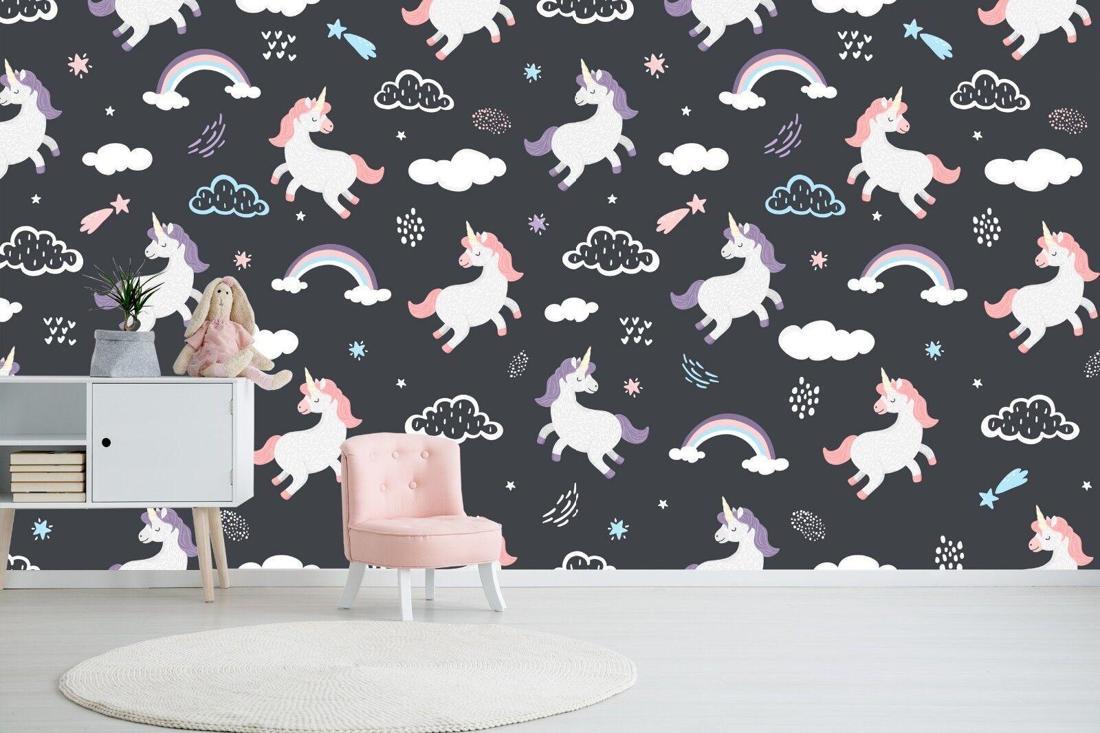 3D Rainbow Unicorn Sky 45 Wallpaper Murals Wall Print Wallpaper Mural AJ WALL AU