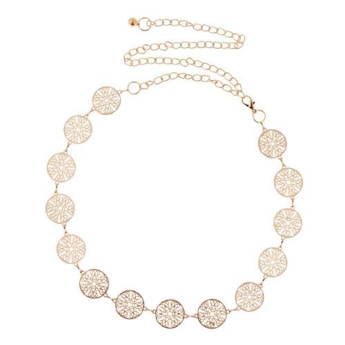 Adjustable Fashion Womens Dress Body Waist Belt Chain Gold Coins Waistband