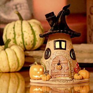 Windlicht Halloween Haus - Kürbis beleuchtbar - ca.17cm - Honiglicht Keramik