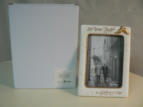 Roman 50TH ANNIVERSARY 4x6 FRAME #63774 NEW Sing a Song of Love GOLD Accents