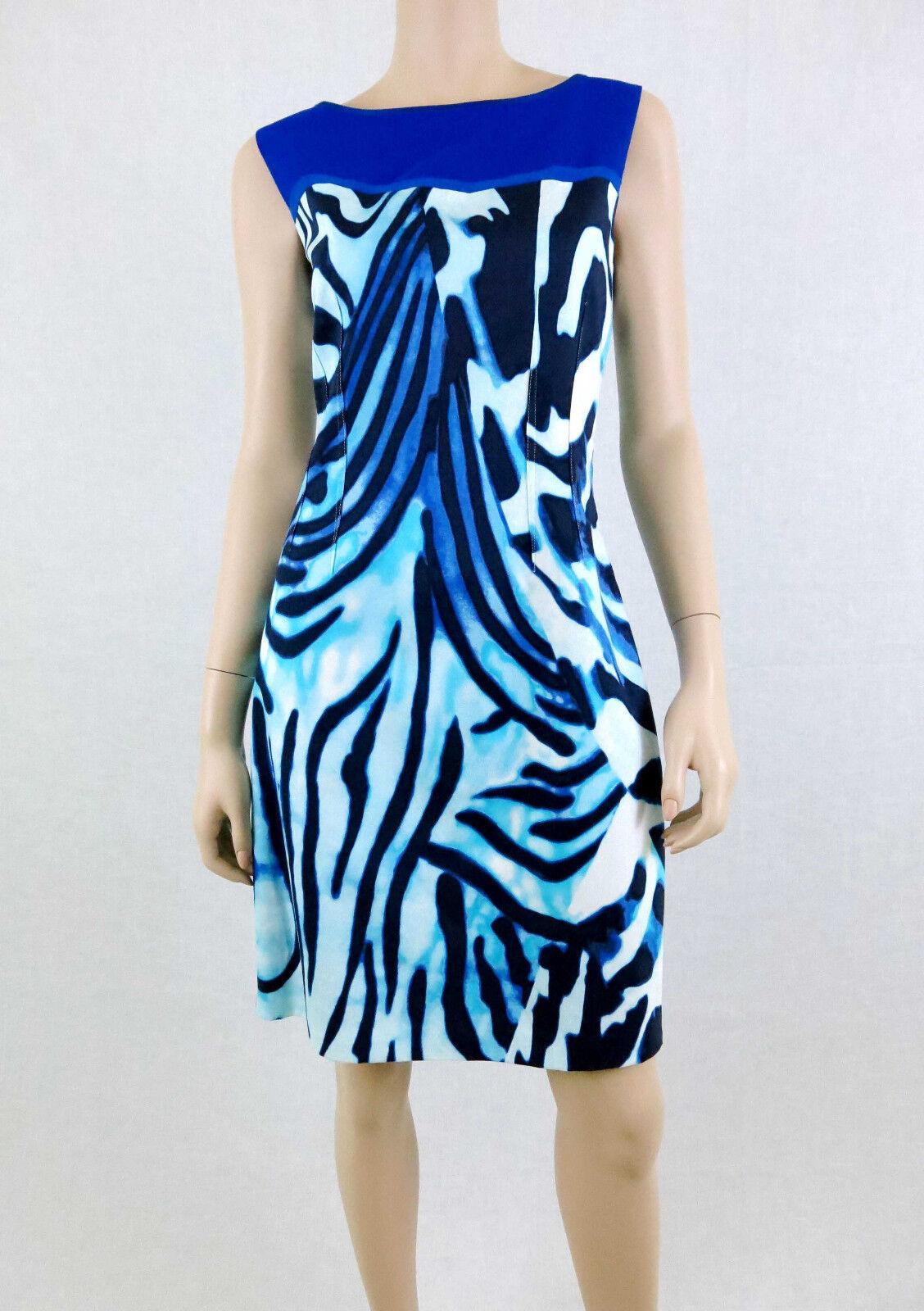 TAHARI Shira Dress Abstract Print Sleeveless Exposed Back Zipper Blau 10