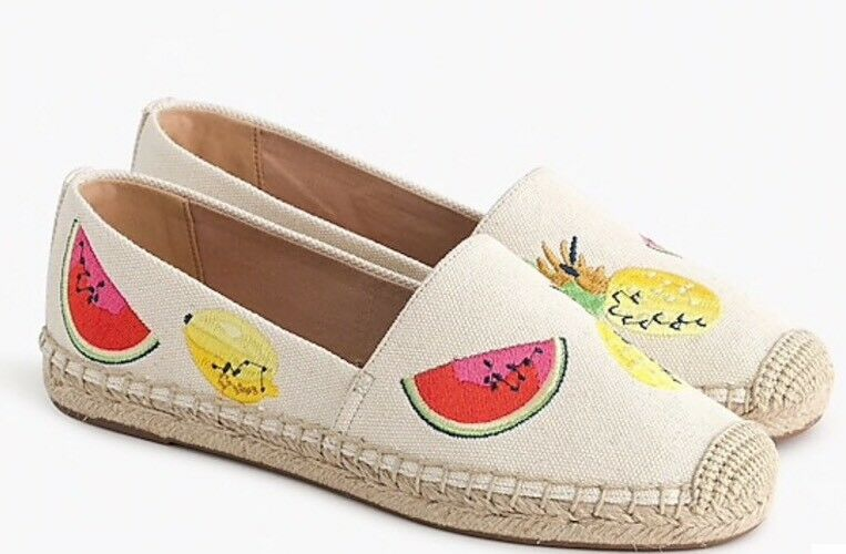 NEW JCREW Canvas espadrilles with embroidered fruits Sz6 Sundried Linen H9793
