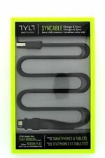 TYLT Syncable 2ft Flat Ribbon Micro USB Cable - Black - New - Retail Packaging