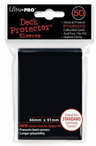 50 Deck Protector Sleeves Ultra Pro Magic STANDARD BLACK Nero Bustine Protettive