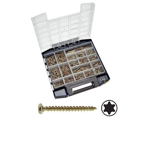 Stahl gelb verz, BOX Spax 940 tlg Sortimentsbox Spax Senkkopfschrauben TORX