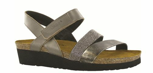 Naot Krista Pewter Metal Black Strappy Sandal Women's sizes 5-11 36-42 NEW