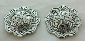 Jeremiah Watt Pair Conchos Floral Stainless Steel Screw Back Horse Tack Sizes