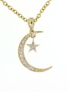 Solid-Real-Natural-Cluster-Diamond-Yellow-Gold-0-10CT-Star-Moon-Style-Pendant