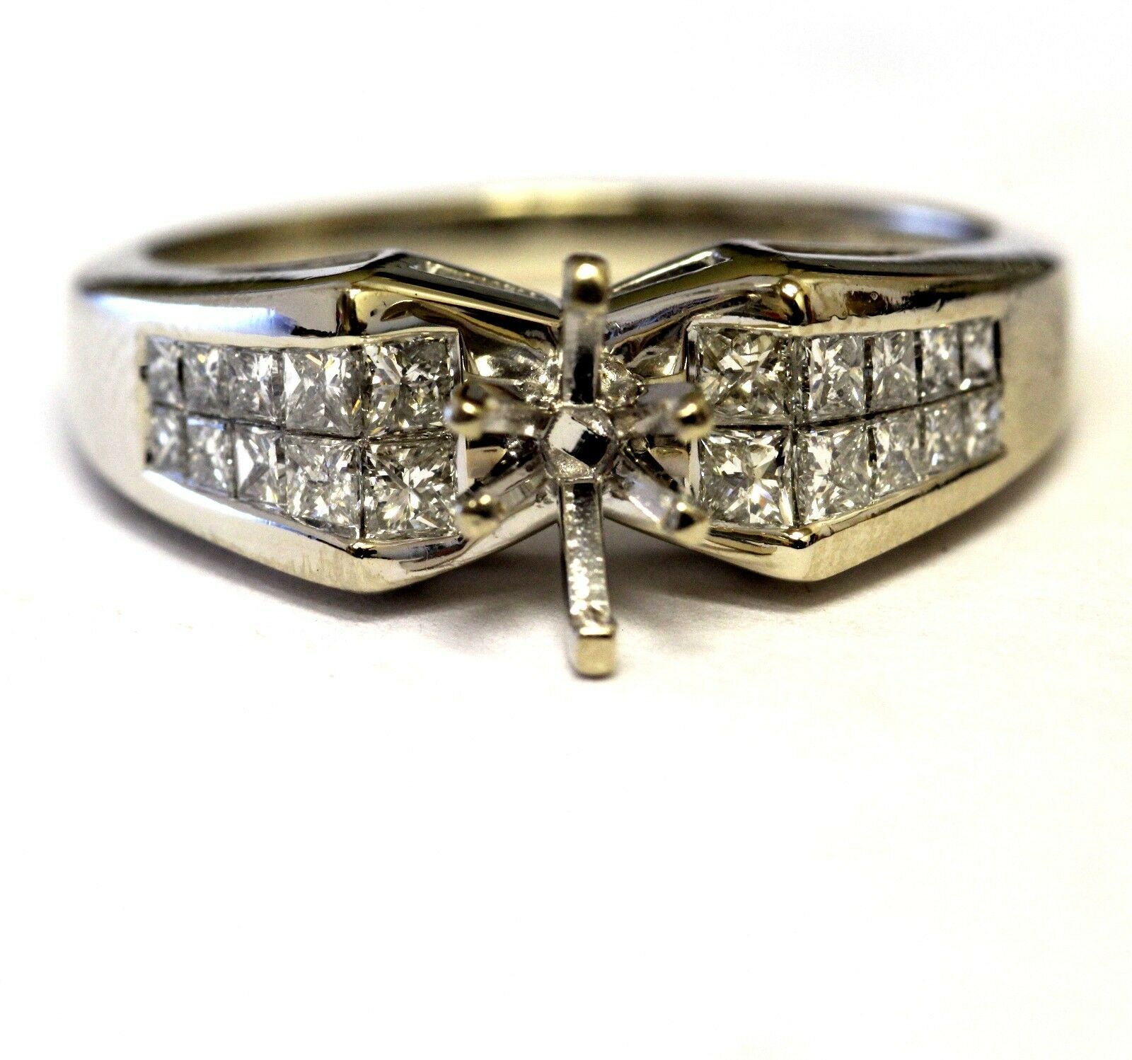 14k white gold invisible princess .88ct diamond semi mount engagement ring 5.2g