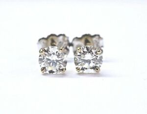 Fine-Round-Cut-Diamond-4-Prong-Yellow-Gold-Push-Back-Stud-Earrings-1-00Ct