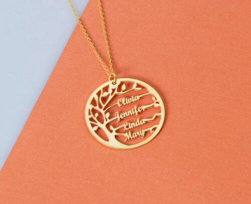 Personalised Sterling Silver Family Tree Name Necklace Custom Made Jewellery