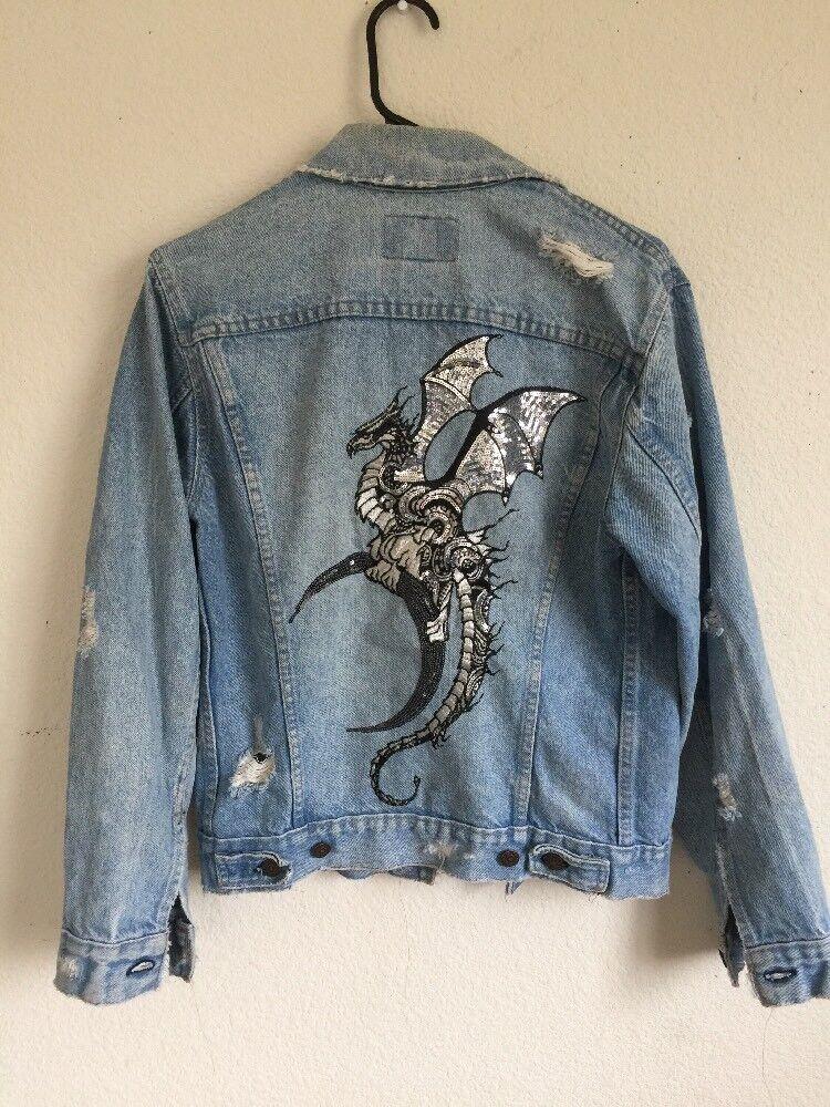 Lf Vintage en Détresse Dragon Brodé Veste en Jeans Neuf avec Étiquettes OS
