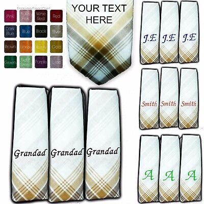 PERSONALISED HANDKERCHIEF 100/% COTTON EMBROIDERED ANY NAME HANKIES MEN LADY