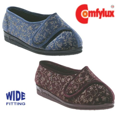 COMFYLUX Ladies Adjustable Super Wide EEEE Slippers  Blue Red Size 3 4 5 6 7 8 9