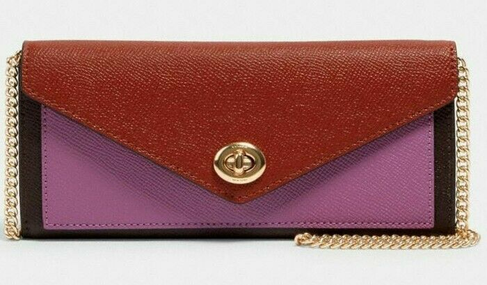 * TEST C1909 Slim Envelope Leather Wallet Chain Crossbody Terracotta NWT FS