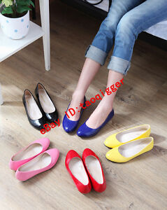 Women-Korean-Low-Heel-Pantent-Leather-Casual-Shoes-Candy-Color-Loafers-PLUS-SIZE