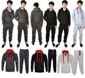 Mens-tracksuit-Set-Fleece-Hoodie-Top-Bottom-lot-Joggers-Gym-Contrast-Jogging-New